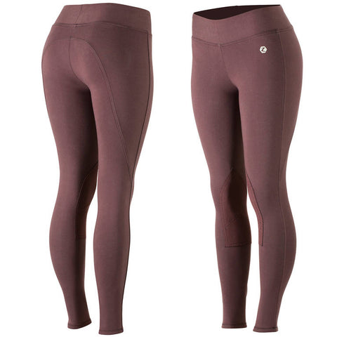 Women's Knee Patch Active Tights - Maroon