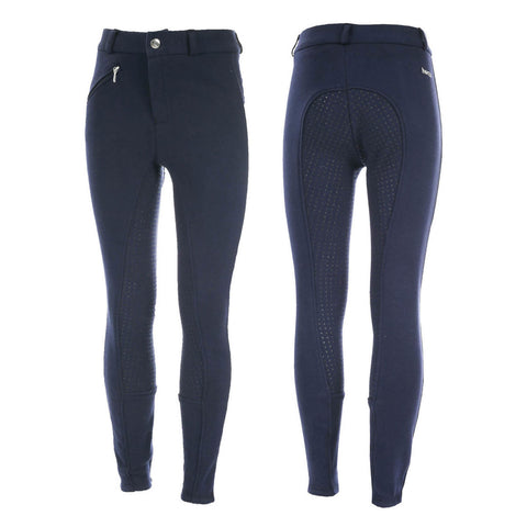 Junior Active Silicone Grip Full Seat Breeches - Navy