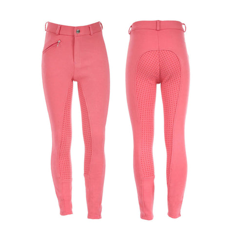 Junior Active Silicone Grip Full Seat Breeches - Pink