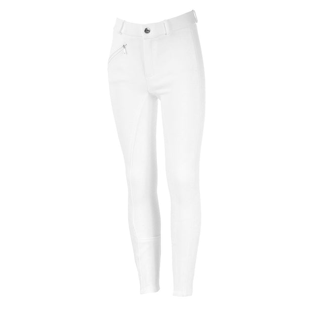 Junior Active Silicone Grip Full Seat Breeches - White