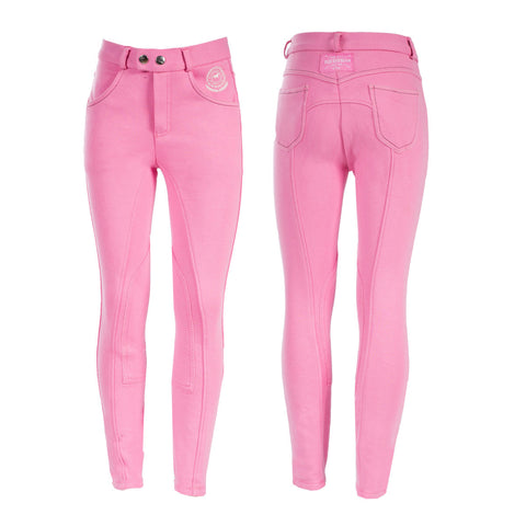 Horze Jen Children's Knee Patch Breeches - Pink