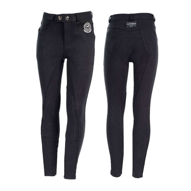 Horze Jen Children's Knee Patch Breeches - Black