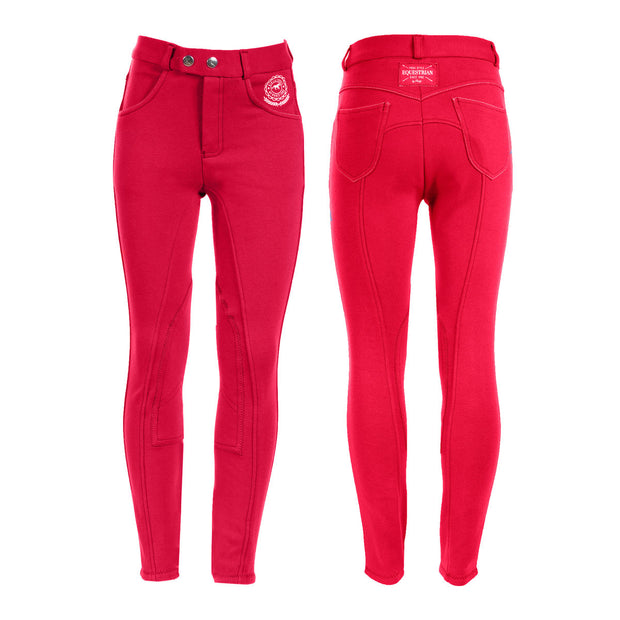 Horze Jen Children's Knee Patch Breeches - Red
