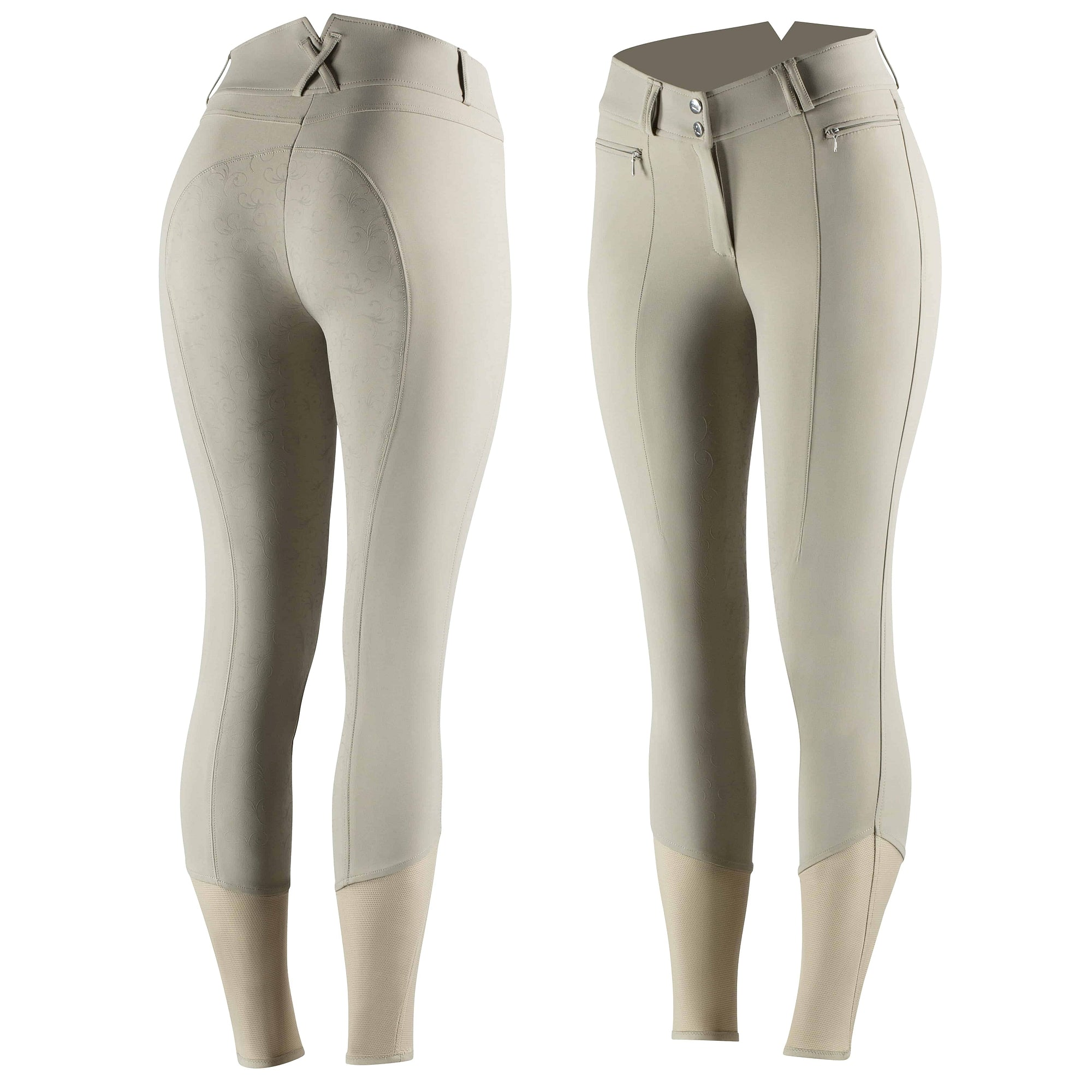Angelina Women's Silicone Full Seat Breeches - Beige