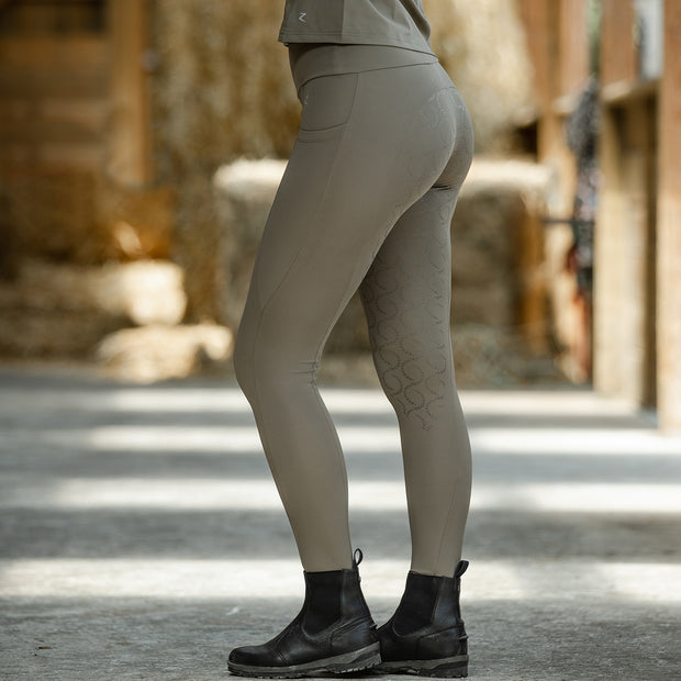 Gracie Silicone FS Riding Tights - Sand Grey