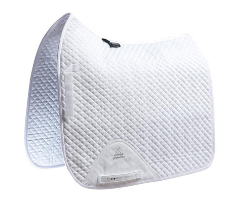 Premier Equine Plain Cotton Saddle Pad - Dressage Square - White