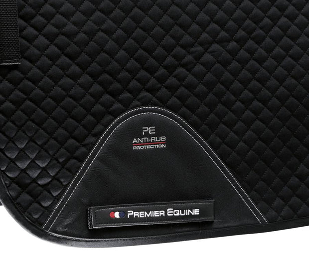 Premier Equine Plain Cotton Saddle Pad - Dressage Square - Black