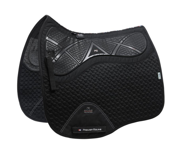 Premier Equine Tech Grip Pro Anti-Slip Saddle Pad - Dressage Square - Black