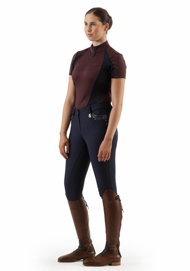 PEI Enduria Ladies Technical Short Sleeved Riding Top - Burgundy