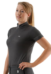PEI Nadia Ladies Technical Short Sleeved Riding Top - Dark Grey