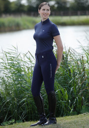 PEI Nadia Ladies Technical Short Sleeved Riding Top - Navy