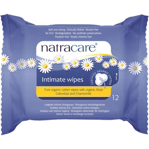 Natracare Organic Cotton Intimates Wipe x 12 Pack