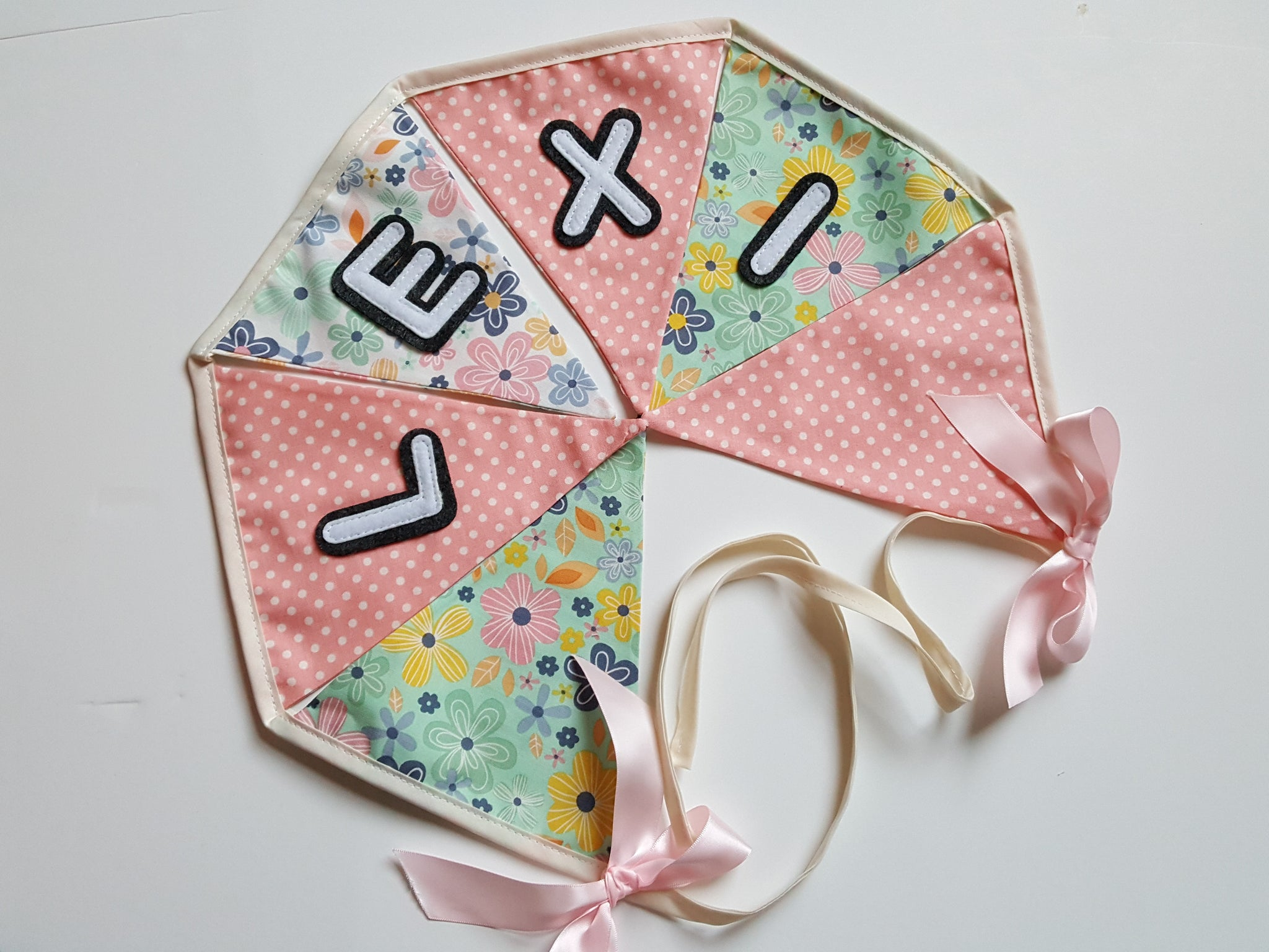feab6d733 Floral Pink Personalised Bunting – Isaac and the Apple