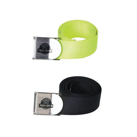 Pro Dive Webbing Weight Belts in yellow and black