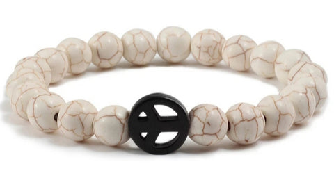 Natural Stone Peace Sign Bracelet (3) Colors