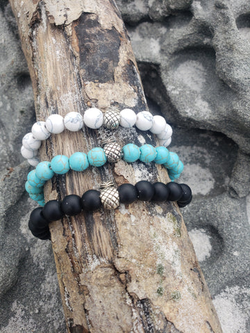 stone pineapple bracelet, 3 colors