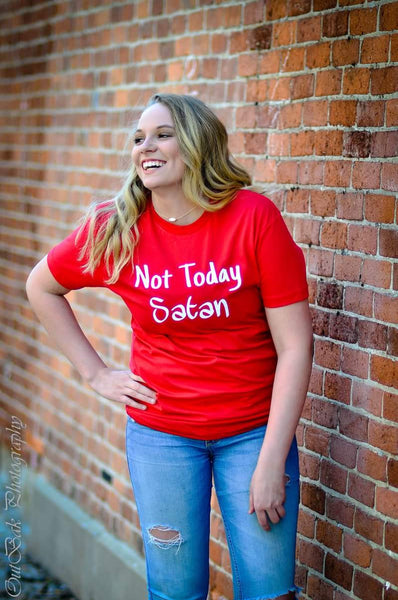 Red Not Today Satan Shirt with model