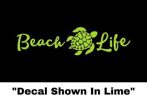 Beach Life Turtle Sticker - Car Decal