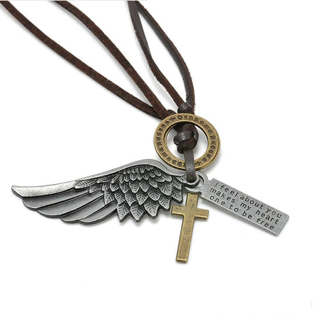 ANGEL silver cross necklace