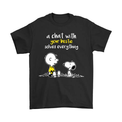 A Chat With Your Bestie Solves Everything Snoopy Shirts-T-shirt-Gildan Mens T-Shirt-Black-S-Snoopy Facts
