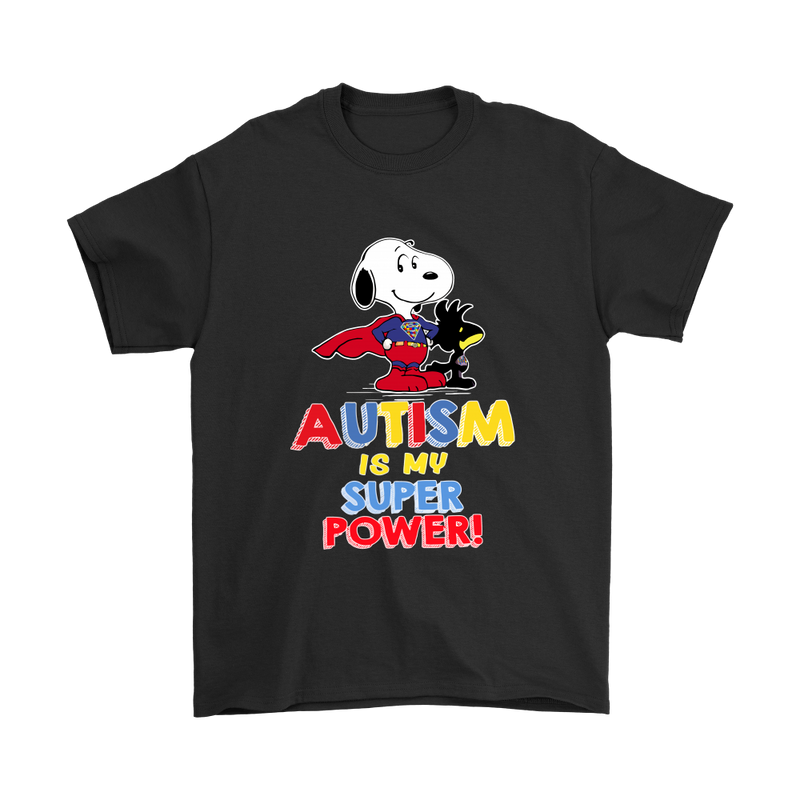 Autism Is My Super Power Snoopy Shirts-T-shirt-Gildan Mens T-Shirt-Black-S-Snoopy Facts