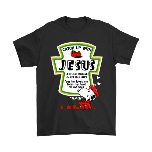 Catch Up With Jesus Christian Snoopy Shirts-T-shirt-Gildan Mens T-Shirt-Black-S-Snoopy Facts
