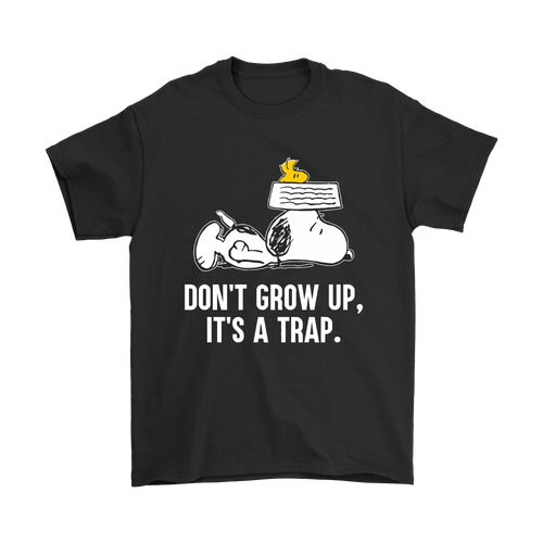 Don't Grow Up It's A Trap Snoopy Shirts-T-shirt-Gildan Mens T-Shirt-Black-S-Snoopy Facts