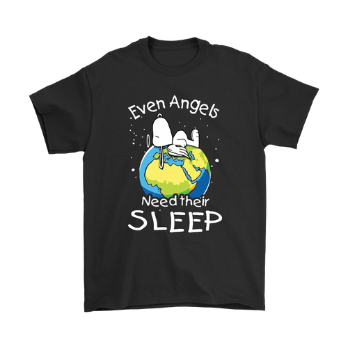 Even Angels Need Their Sleep Lazy Snoopy Shirts-T-shirt-Gildan Mens T-Shirt-Black-S-Snoopy Facts