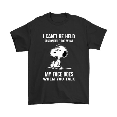 I Can't Be Held Responsible For What My Face Does Snoopy Shirts-T-shirt-Gildan Mens T-Shirt-Black-S-Snoopy Facts