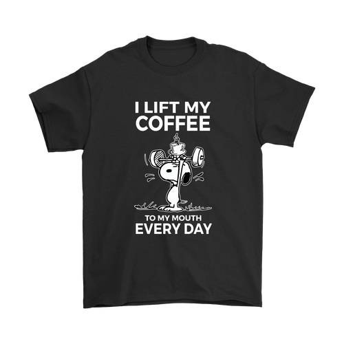 I Lift My Coffee To My Mouth Every Day Snoopy Shirts-T-shirt-Gildan Mens T-Shirt-Black-S-Snoopy Facts