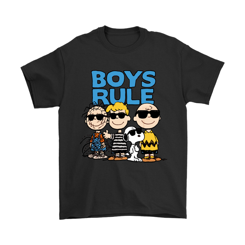 Peanuts Gang Boys Rule Snoopy Shirts-T-shirt-Gildan Mens T-Shirt-Black-S-Snoopy Facts