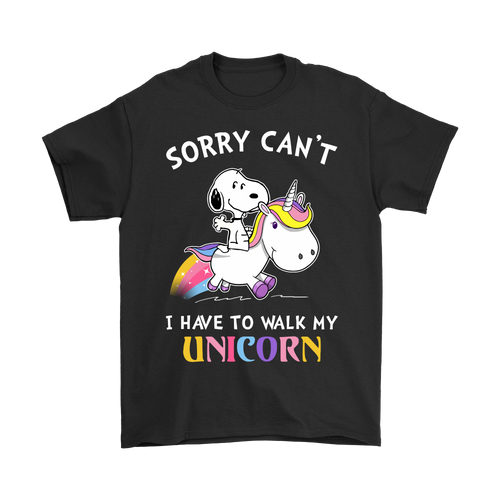Sorry Can't I Have To Walk My Unicorn Snoopy Shirts-T-shirt-Gildan Mens T-Shirt-Black-S-Snoopy Facts