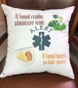 Pillow | In Case of Emergency Administer Wine
