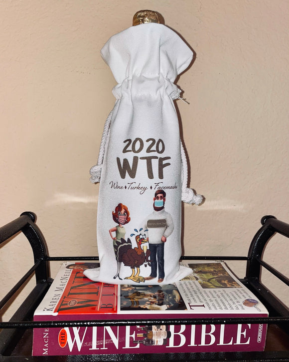 Wine Gift Bag | (WTF) - SPECIAL 2020 VERSION Wine, Turkey & Facemasks or original Wine, Turkey & Family