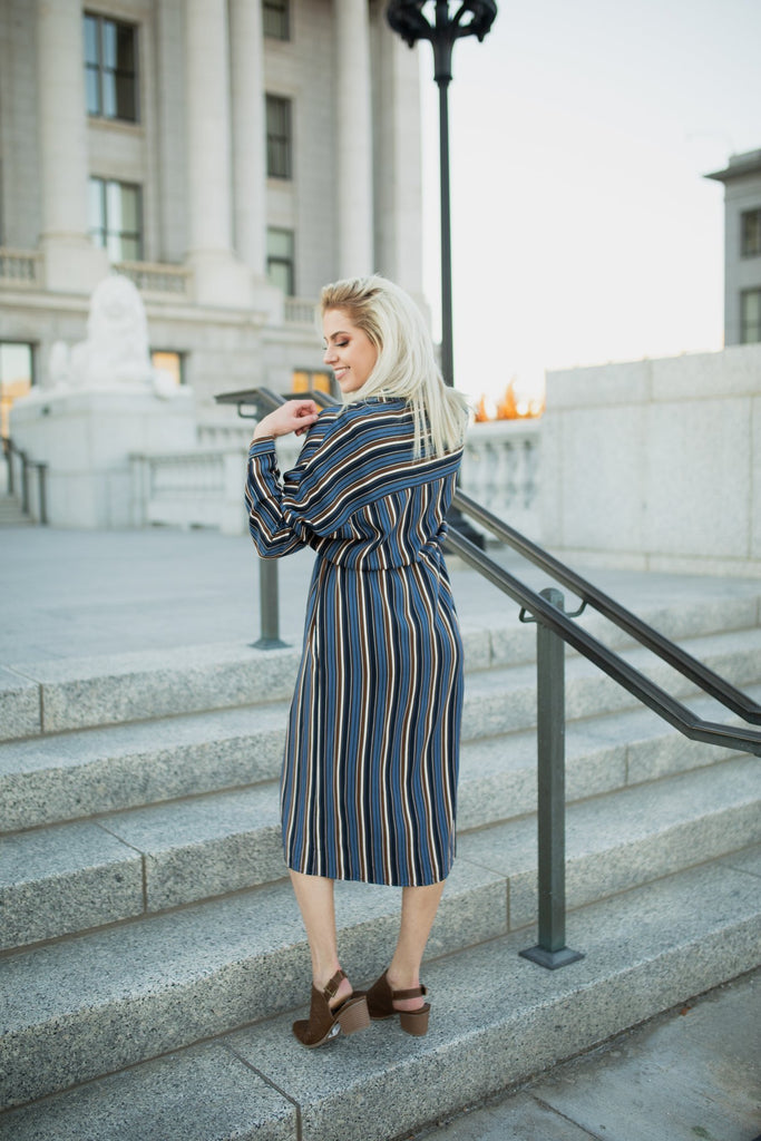 Emma Striped Dress in Denim Blue/Navy