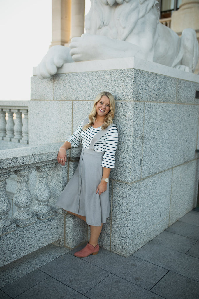 Gretta Overall Skirt in Gray