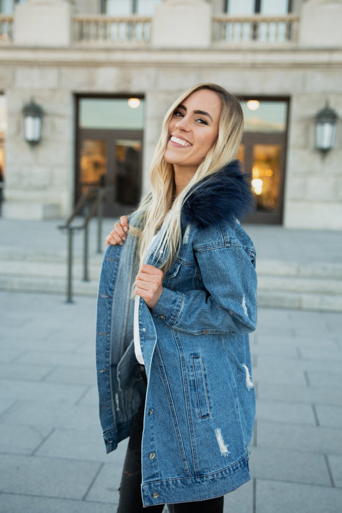 Molly Coat in Medium Wash Denim
