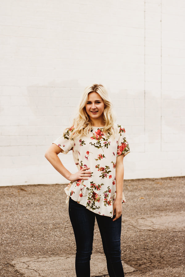 The Rosemarry Floral Top in Ivory