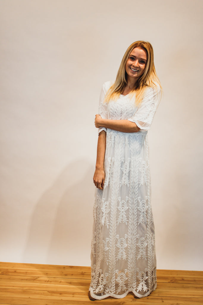The Lace and Love Maxi Dress in White