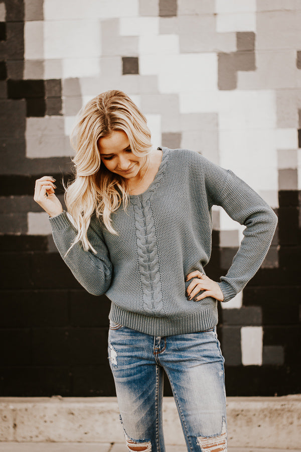 The Daija Knit Sweater in Turquoise