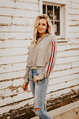 The Varsity Cropped Sweater in Gray