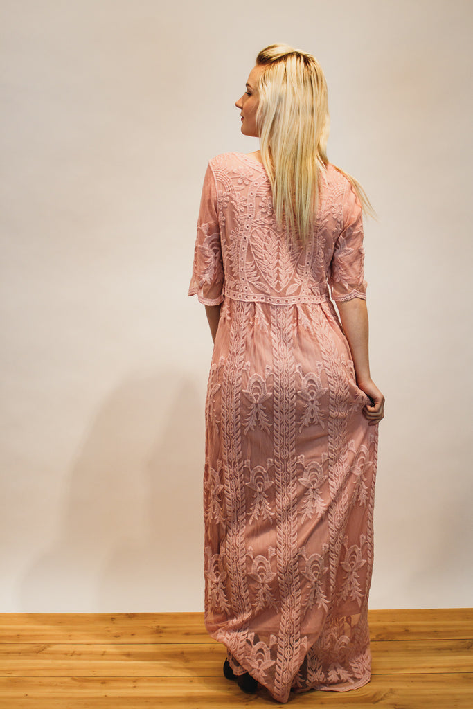 The Lace and Love Maxi Dress in Blush