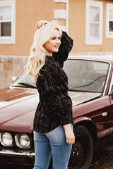 The Cleo Ruffle Sleeve Top in Black