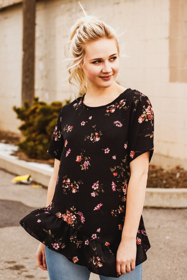The Rosemarry Floral Top in Black