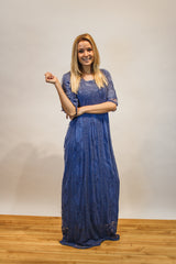 The Lace and Love Maxi Dress in Blue