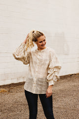 The Cleo Ruffle Sleeve Top in Ivory