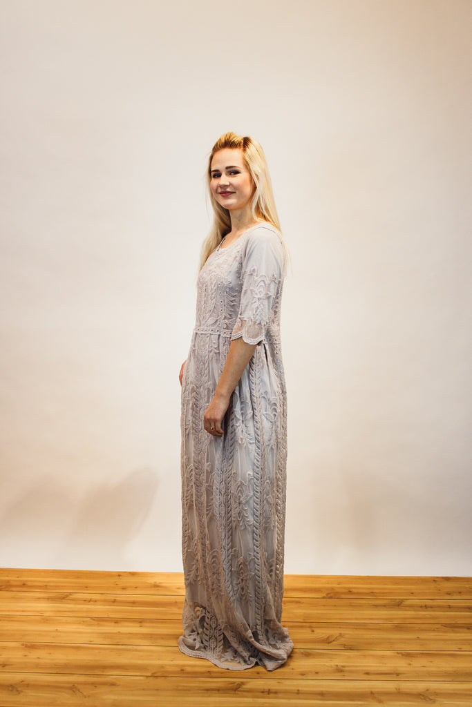 The Lace and Love Maxi Dress in Gray