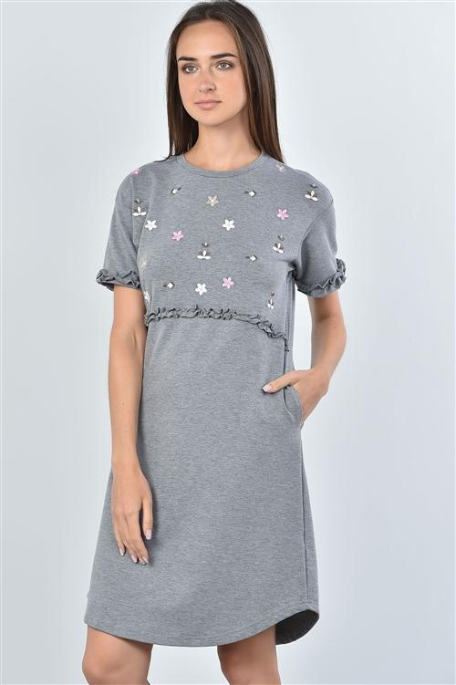 First Bloom Dress in Grey