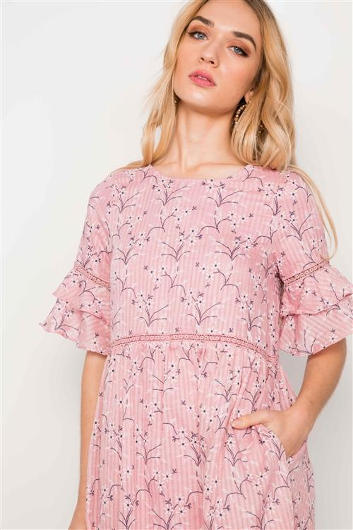 Kennady Floral Dress in Pink