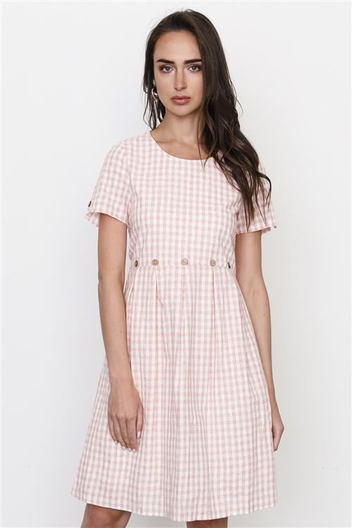 Gingham Dress in Mauve